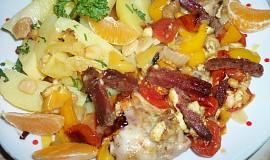 Lovecké kuřecí kousky v zelenině s nivou, přelité mandarínkovou šťávou