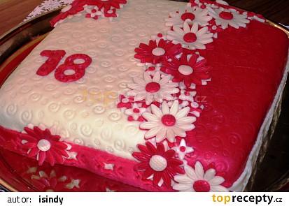Hranatý červenobílý dort