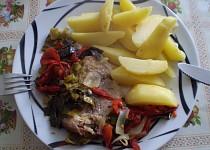 Zapečené vepřové maso se zeleninou