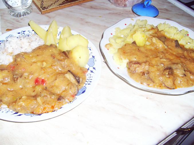 s rýží a s bramborem...