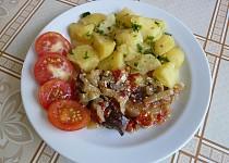 Maso na zelenině se šlehačkou