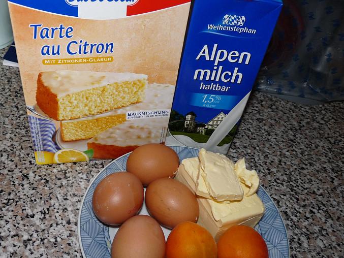 Ovocný (meruňkový) koláč ze směsi na Tarte au citron, ingredience