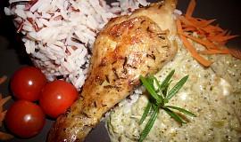 Tymiánová kuřecí stehna se zeleninovo-smetanovou omáčkou