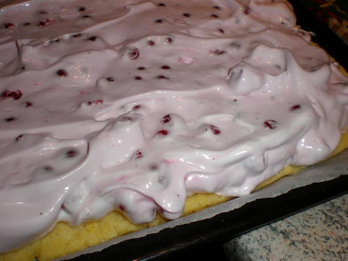 Sněhový rybízový koláč