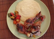 Pečená stehýnka se zeleninou a polentou (s medem)