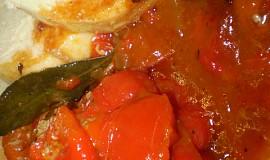Zapečené,plněné papriky na bazalce s oreganem