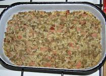 Čočka zapečená s rýží a uzeným masem