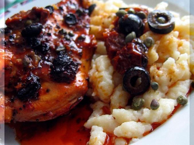 Kuře s vůní Itálie, synova porce