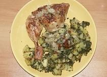 Pečené kuře se špenátovými bramborami