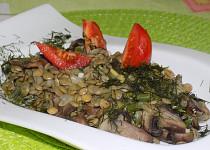 Čočkový salát se žampiony