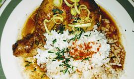 Kuře pečené po chalupářsku s rýží
