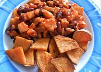 Cuketová směs s fazolemi, tofu a opečenými batáty  (Dělená strava podle LK - Kytičky+zelenina)