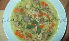 Polévka s kuřecími žaludky a skleněnými nudlemi