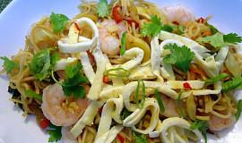 Pikantní malajské nudle s krevetami