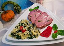 Pečená krkovice v PH (14 dní naložená) a máslová tarhoňa s baby špenátem