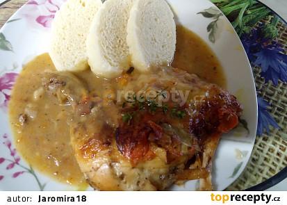 Pečená kuřecí stehna a la bažant