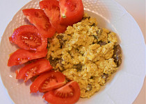 Vepřová játra na cibulce s vejci  (Dělená strava podle LK - Zvířata)