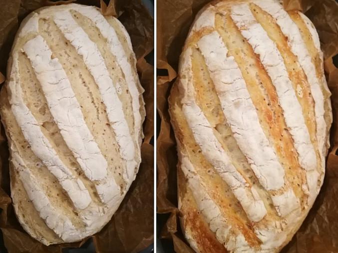 Jednoduchý domácí chleba, Před odklopením poklice a po 8min bez poklice. Úžasná kůrka!