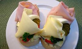 Retro chlebíčky - šunka a sýr