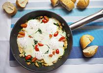 Špenát s vajíčky a žampiony