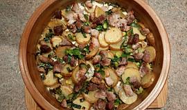 Smetanové brambory s pórkem a masem