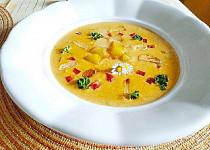 Polévka z pečených paprik a opečeného česneku