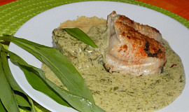 Ryba  s omáčkou z medvědího česneku