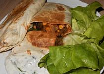 Zapékané veganské tortilly s bazalkovým dipem  (Dělená strava podle LK - Kytičky + zelenina)