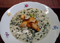 Smetanová polévka s medvědím česnekem a Nivou