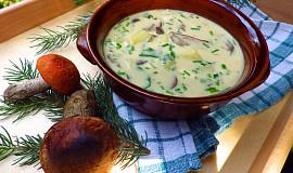 Jemná bramborová polévka se smetanou a lesními houbami